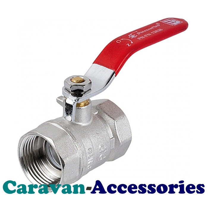 "SDT125M Brass (1 1/4"") Female Threaded In-Line Ball Valve Red Handle"