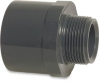 "RW32F1QM Rigid Waste Mega Adaptor bush PVC-U 32/40 mm x 1 1/4"" glue socket/glue spigot x male thread 10bar grey"