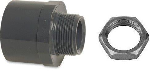 "RW401QNUTIN Rigid Waste Mega Adaptor bush PVC-U 40/50 mm x 1 1/4"" glue socket/glue spigot x male thread 10bar grey"