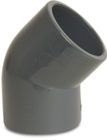 RW40ANG Rigid Waste Mega Elbow 45° PVC-U 40 mm glue socket 16bar grey