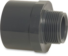 "RW40F1QM Rigid Waste Mega Adaptor bush PVC-U 40/50 mm x 1 1/4"" glue socket/glue spigot x male thread 10bar grey"