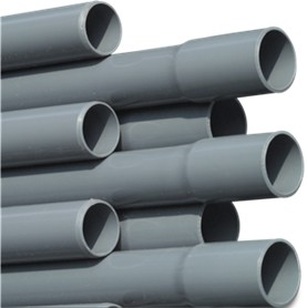 RW40P Rigid Waste Pressure Pipe PVC-U 40 mm x 1,9 mm glue socket x plain 10bar grey 5m