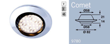 LED9780MS FRILIGHT Comet Recessed LED Downlight 12 Volt 38SMD