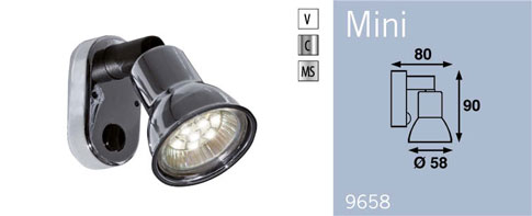 LFR9658C FRILIGHT Mini Wall Mounted Spotlight 12 Volt With Switch 10SMD