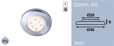 LFR9680MC FRILIGHT Gleam 46 Flush Mount Downlight 12 Volt 18SMD IP66