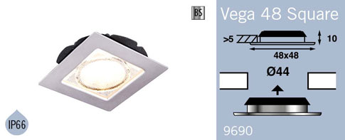 LFR9690BS FRILIGHT Vega 48 Square Recessed Rubber Mount 12 Volt 18SMD IP66