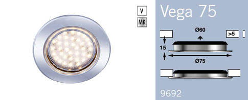 LFR9692MC FRILIGHT Vega 75 Circular Recessed Rubber Mount 12 Volt 36SMD IP6