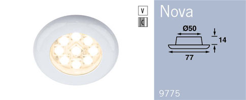 LFR9775C9 FRILIGHT Nova Recessed Downlight 12 Volt 9SMD