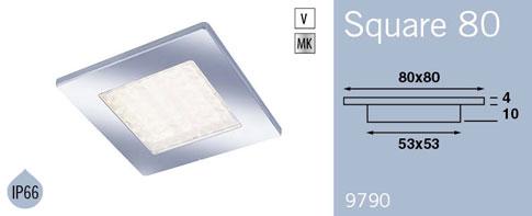 LFR9790MC FRILIGHT Square 50 LED Recessed Downlight 12 Volt 36SMD IP66