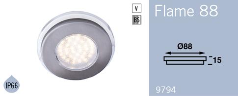 LFR9794BS FRILIGHT Flame 88 LED Flush Mount Downlight 12 Volt 36SMD IP66