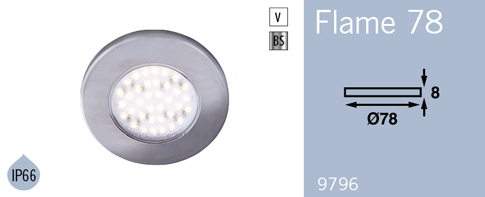 LFR9796BS FRILIGHT Flame 78 LED Flush Mount Downlight 12 Volt 36SMD IP66
