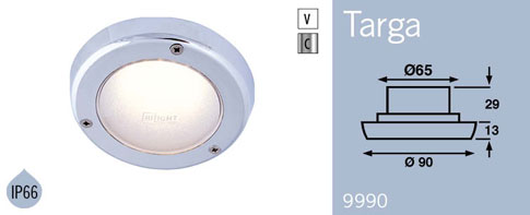 LFR9990C FRILIGHT Targa Chrome LED Recessed Ceiling or Wall Light 12 Volt 3