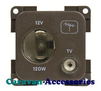 CBE MP12ATV/G 12 Volt Auto Socket + TV Outlet (9,5 75 Ohm) (Grey)