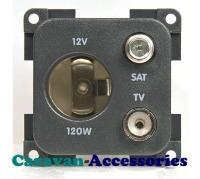 CBE MP12ATVS/G Auto Socket + TV + Satellite Outlet (Grey)
