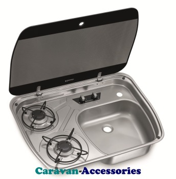 Dometic HSG 2445 2-Burner Hob/Sink Combination with Glass Lids 9103301741