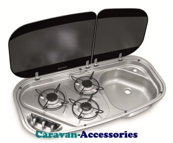 Dometic HSG 3436 3-Burner Hob/Sink Combination with Glass Lids 9103301751