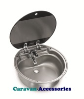 Dometic SNG 420 Circular Sink Unit with Glass Lid (Tap NOT Included) 9102305032