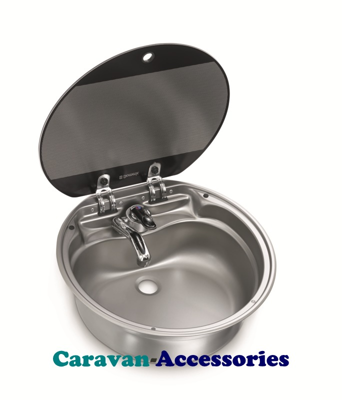 Dometic SNG 420 Circular Sink Unit with Glass Lid (Tap NOT Included)