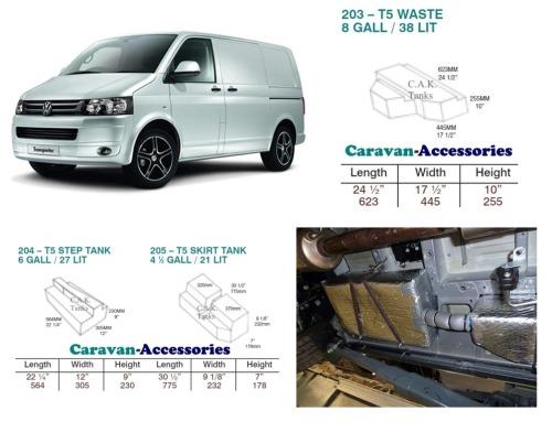 CAK-T5T6TANKKITB Fresh Water Tank Kit for Volkswagen T5 & T6 Camper Convers