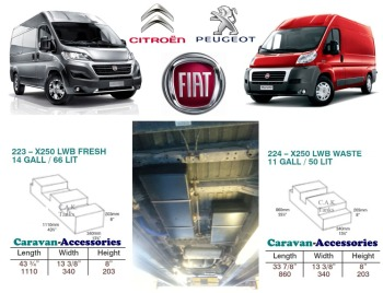 CAK-X250X290KIT Fresh & Waste Water Tanks For Ducato, Boxer, Relay X250/290 D.I.Y. Installation Kit Van to Campervan