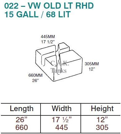 CAK-022F Fresh Water Tank for Volkswagen LT Mk1 - 68 Litres - D.I.Y. installation kit for VW camper conversions