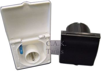 MIF31 Square Mains Inlet Socket with Flap Down Cover Matches Water Filler (Black)