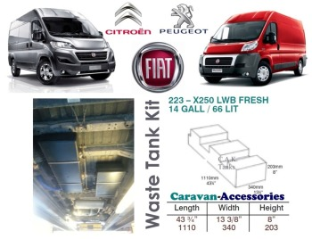 CAK-223W Ducato, Boxer, Relay XLWB X250/290 Waste Water Tank - 66 Litres - D.I.Y. Installation Kit Van to Campervan