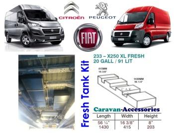 CAK-233F Ducato, Boxer, Relay XLWB X250/290 Fresh Water Tank - 91 Litres - D.I.Y. Installation Kit Van to Campervan