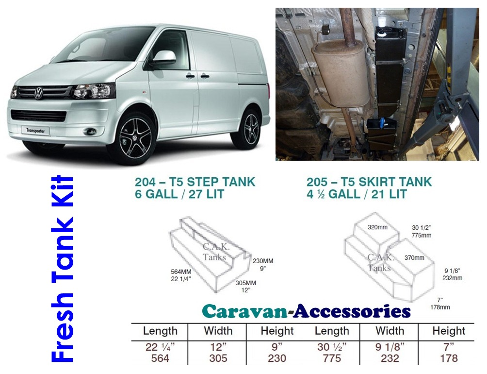CAK-T5PAIRF Fresh Water Tanks for Volkswagen T5 & T6 - 48 Litres - D.I.Y. installation kit for VW camper conversions