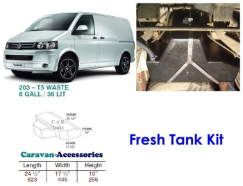 CAK-203F Fresh Water Tanks for Volkswagen T5 & T6 - 38 Litres - D.I.Y. installation kit for VW camper conversions