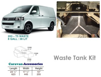 CAK-203W Waste Water Tanks for Volkswagen T5 & T6 - 38 Litres - D.I.Y. installation kit for VW camper conversions