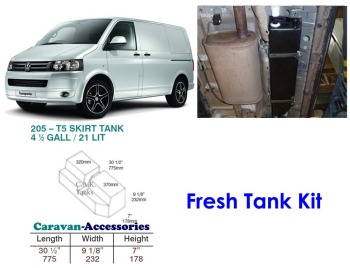 CAK-205F Fresh Water Tank for Volkswagen T5 & T6 - 21 Litres - D.I.Y. installation kit for VW camper conversions