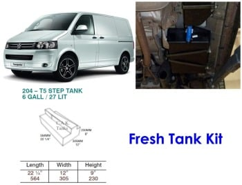 CAK-204F Fresh Water Tank for Volkswagen T5 & T6 - 27 Litres - D.I.Y. installation kit for VW camper conversions