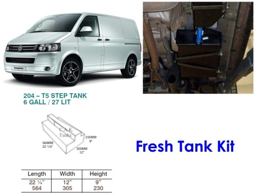 CAK-204F Fresh Water Tank for Volkswagen T5 & T6 - 27 Litres - D I Y   installation kit for VW camper conversions