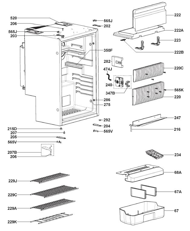 Dometic RMS8550 Refrigerator (Housing Parts)
