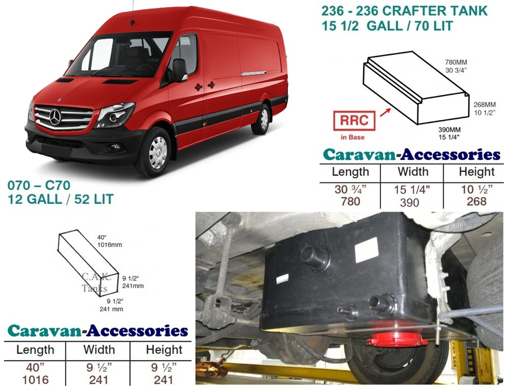 CAK-236R070KIT Fresh & Waste Water Tank Kits for LWB Volkswagen Crafter & Mercedes Sprinter 06-17 D.I.Y. installation Kit (Red Cap Version)