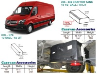 <!--001-->CAK-236R070KIT Fresh & Waste Water Tank Kits for LWB Volkswagen Crafter & Mercedes Sprinter D.I.Y. installation van to Campervan (Red Cap)