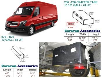 CAK-236R070KIT Fresh & Waste Water Tank Kits for LWB Volkswagen Crafter & Mercedes Sprinter D.I.Y. installation van to Campervan (Red Cap)