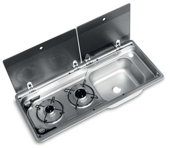 Dometic SMEV MO9722 2 Burner & Sink Combination Unit With Piezo Ignition (Right Hand Sink)