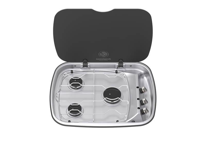 THETFORD Argent 3 Burner Hob Unit RH Controls w/ Glass Lid & 12 Volt Ignition [H 110mm x W 570mm x D 470mm] (SHB14599-SP)