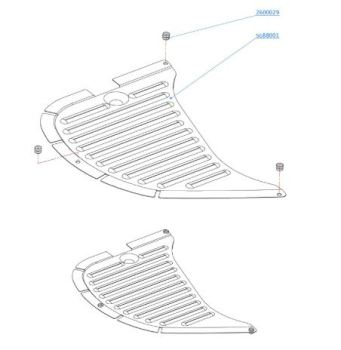 (002) SMEV Spare 8821R Drainer Complete With Rubber Buffers (105 31 14-91)