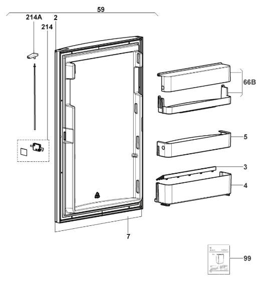 RMS8551 Step Fridge Freezer Door