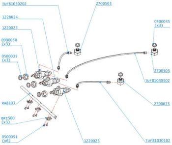 (051) Dometic SMEV 8103 & 8203 Complete Gas Assembly Including Valves & Jets (105 31 01-78)