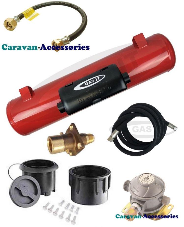 GAS-IT LPG Full Under Body Install Kit Including: Fill Box, Fill Point, Fast-fill Hose, Gas Tank, Regulator Pigtail & Regulator