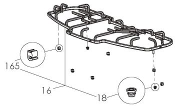 (016) Dometic CRAMER Spare KSK2008 Pan Support Rack With Buffers & Grommets (105 31 28-10)