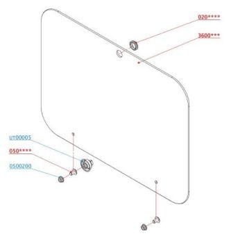 (100) Dometic SMEV Spare PI8023 / PI8003 Replacement Glass Lid (Colour: Silver ADRIA) (105 31 21-45)