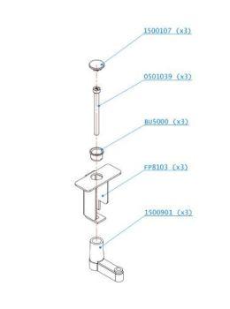 (123) Dometic SMEV Spare VA8206 Fixing Set Screws & Clamps (3pcs) (105 31 09-33)