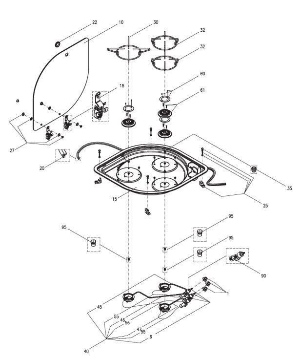 CE02-DF/CH 3 Burner Hob Unit (PNC. 958493313)