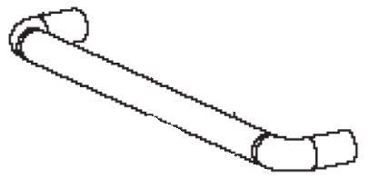 (034) Dometic Spare OG2000 & OG3000 Series Oven Door Handle w/ Fixings (105