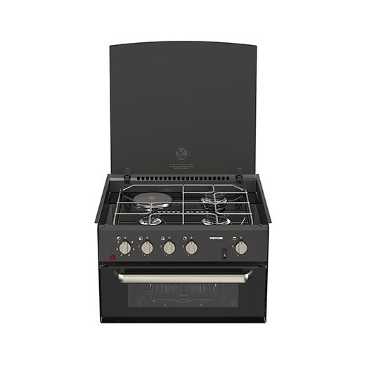 THETFORD Minigrill Dual Fuel Cooker 3 Gas Burners 1 Electric Hotplate & Grill w/ Glass Lid & 12 Volt Ignition (SHG73999-SP)